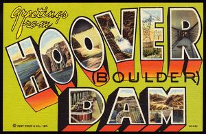 Greeting Card from Hoover Dam. ca. 1953, Border of Nevada and Arizona, USA, Greeting