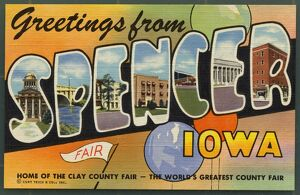 Greeting Card from Iowa. ca. 1949, Spencer, Iowa, USA, Spencer, County Seat of Clay County
