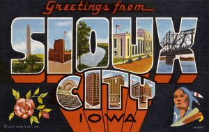 Greeting Card from Sioux City, Iowa. ca. 1939, Sioux City, Iowa, USA, Greeting Card from Sioux City