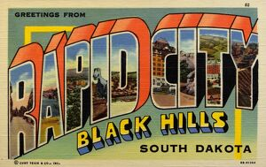 Greeting Card from South Dakota. ca. 1948, Rapid City, South Dakota, USA, This pioneer western city