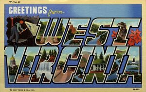 Greeting Card from West Virginia. ca. 1939, West Virginia, USA, W-Prehistoric Mound