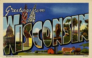 Greeting Card from Wisconsin. ca. 1939, Wisconsin, USA, Greeting Card from Wisconsin