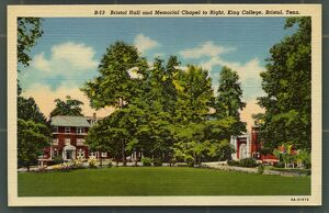 Grounds of King College in Bristol, Tennessee. ca. 1938, Bristol, Tennessee, USA, B-13