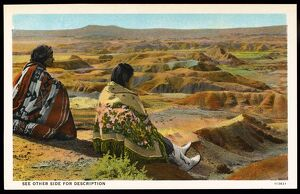 Hopi Indians in the Painted Desert. ca. 1927, Arizona, USA, PAINTED DESERT