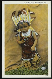 Indian Boy in Traditional Costume. ca. 1936, Eagle River, Wisconsin, USA, Heap Big Chief