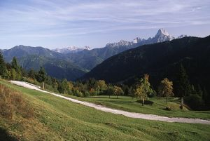 Italy, Friuli-Venezia Giulia Region, Lius Saddle with Mount Sernio and Creta Grauzaria