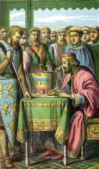 John (1167-1216) King of England from 1199. John signing Magna Carta at Runnymede
