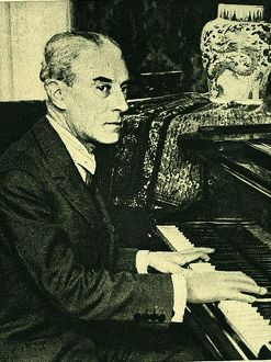 (Joseph) Maurice Ravel (1875-1937) French composer, at the piano. After a photograph