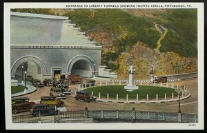 Liberty Tunnel and Traffic Circle. ca. 1932, Pittsburgh, Pennsylvania, USA, ENTRANCE
