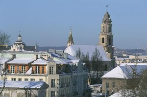 Lithuania, Vilnius, Old Town, bell tower of St Mary's church