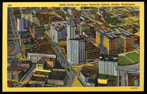Lower Financial District of Seattle. ca. 1939, Seattle, Washington, USA, Smith Tower