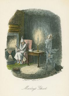 Marley's ghost appearing to Scrooge. Illustration by John Leech (1817-64) for