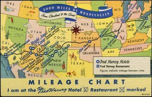 US Mileage Chart Map with Hotels and Restaurants