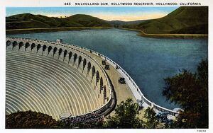 Mulholland Dam and Hollywood Reservoir. ca. 1925, Hollywood, Los Angeles, California