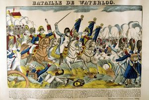 Napoleon at the Battle of Waterloo, 18 June 1815. Popular French hand-coloured woodcut
