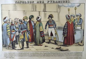 Napoleon in Egypt, 1798, visiting the Pyramids. 19th French popular hand-coloured woodcut