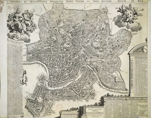 New and Accurate Map of Ancient and Modern Rome by Jean van Ram, copperplate, printed