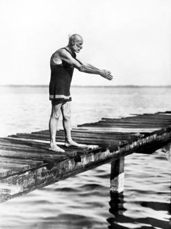 An Old Man Prepares To Dive