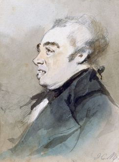 Portrait of Joseph Prudhomme'. Watercolour by Henri Monnier (1805-1877) French cartoonist