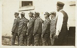 Postcard of Convicts Wearing Striped Uniforms