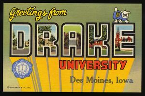 Postcard from Drake University. ca. 1946, Des Moines, Iowa, USA, D-Student Union Building