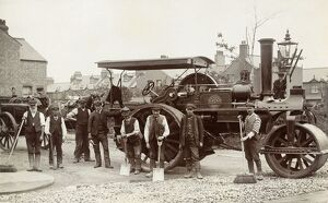 Postcard of Workers in front of an Antique Steamroller. Northamptonshire, England
