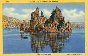 Rugged Island in Crater Lake. ca. 1937, Crater Lake National Park, Oregon, USA, 875
