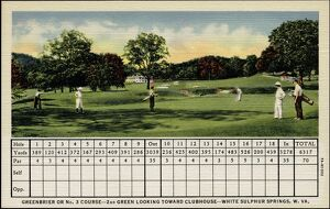 Scorecard and Golfers on Putting Green. ca. 1937, White Sulphur Springs, West Virginia