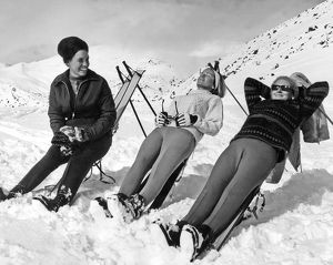 Skiers Basking In The Sun
