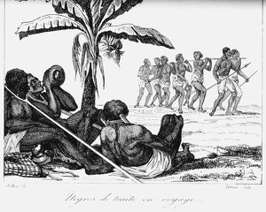 Slave convoy on the way to slave boat. Africa. Early 19th century. Copperplate engraving
