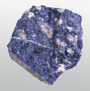 Sodalite in rock groundmass, close-up