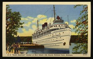 SS South American Docked at Mott Island. ca. 1947, Isle Royale National Park, Michigan, USA, S