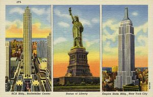 Statue of Liberty and Notable Skyscrapers. ca. 1944, New York, New York, USA, RCA Bldg