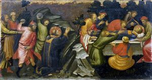 Stoning and burial of St Stephen. Stephen was the first Christian martyr. Artist