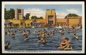 Swimming Pool at Riverview Beach. ca. 1936, Pennsville, New Jersey, USA, THE NEW SWIMMING POOL