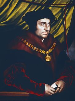 Thomas More (1478-1535) English statesman, scholar and saint. Portrait by Hans Holbein