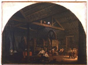 'The Tilt Forge'. Artist, Godfrey Symes (1825-1866), Sheffield Museum, England
