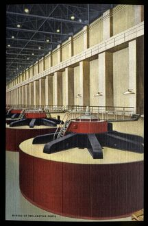 Turbines at Grand Coulee Dam. ca. 1948, Washington, USA, 312 - INTERIOR OF THE POWER HOUSE