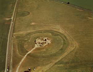 United Kingdom, England, Wiltshire, Aerial view of megalithic monument of Stonehenge
