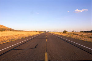 USA, Arizona, Route 66, passing through a stretch of wilderness