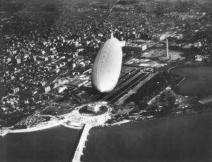 USS Akron dirigible over the Lincoln Memorial, DC