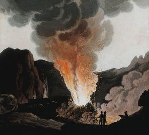 Vesuvius during one of its early 19th century eruptions. People are standing inside