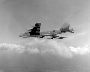 Vintage image of camouflaged B-52