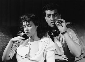 Vintage image of couple smoking