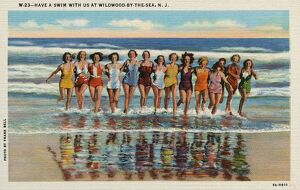 Women Running in Surf. ca. 1935, Wildwood, New Jersey, USA, W-23--HAVE A SWIM WITH