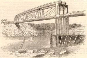 Wrought iron tubular trussed bridge over the river Wye at Chepstow, c1885. This bridge